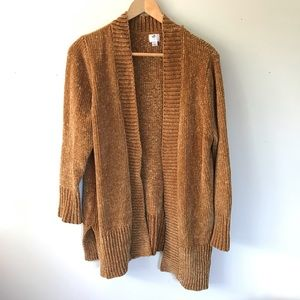 A New Day Mustard Brown Chenille Cardigan Sweater
